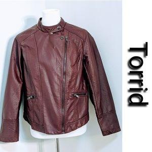 NWOT Torrid Faux Leather Burgundy Moto Jacket